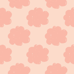 Geometric cloud sky seamless pattern. Simple cloudy texture background. Design for fabric, textile print, wrapping paper, childish textiles. Cute doodle vector illustration.