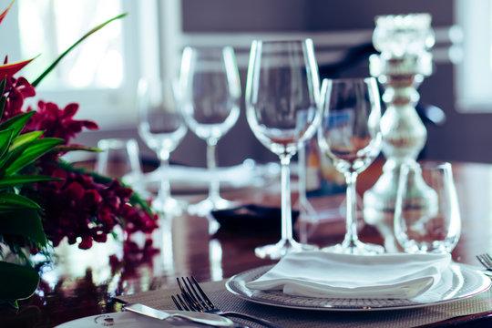 Elegance luxury restaurant empty close shutdown no customers during coronavirus quarantine lockdown. Food fine dining business in crisis finance bankruptcy. Cancel events celebration party wedding
