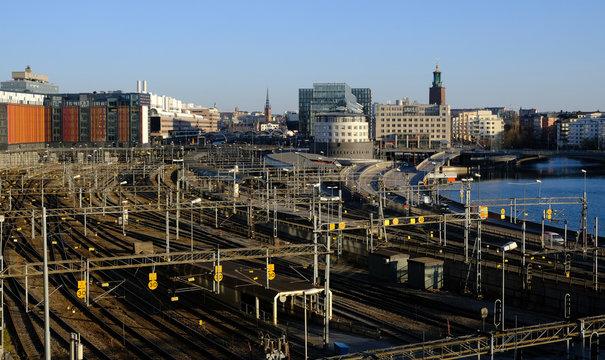 Train tracks and Stockholm city skyline, Stockholm, Sweden