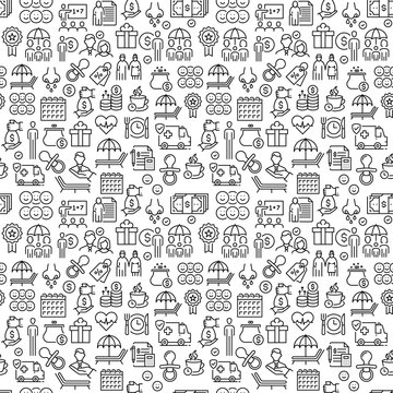 Vector set of design templates and elements for Employee Benefits in trendy linear style - Seamless patterns with linear icons related to Employee Benefits - Vector stock illustration