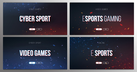 Cyber Sport banner with glitch effect. Esports Gaming. Video Games. Live streaming game match. Vector illustration with flame particles.