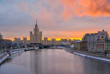 Wall Mural - Kotelnicheskaya Embankment Building and Moscow river in Moscow, Russia. Architecture and landmark of Moscow. Sunrise cityscape of Moscow