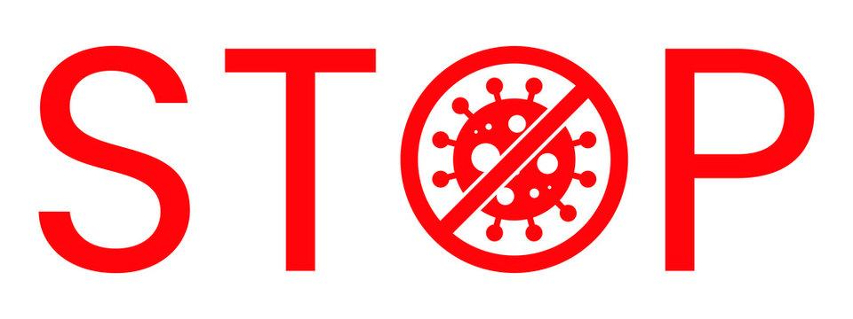 Wuhan Corona Virus Stop Text Warning Sign. Covid-19, nCOV, MERS-CoV Novel Coronavirus Block Stamp. Red Vector. Protection Symbol, Risk Zone. Chinese Pneumonia Disease Pandemic. Covid19