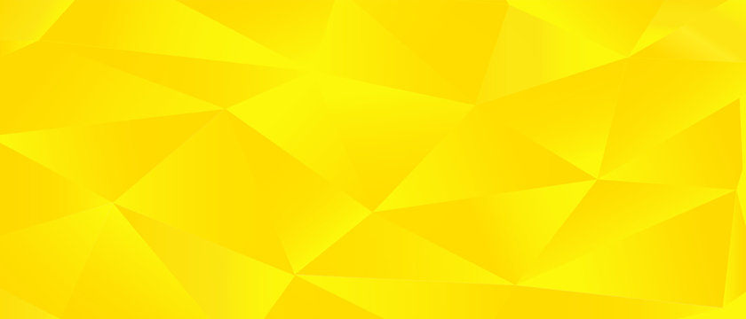 Blank golden yellow vector background. Polygonal element for flyer, presentation, business card, ad brochure. Technology digital trendy space. Sunny warm color. Dynamic empty motion wall. Glow 3d tile