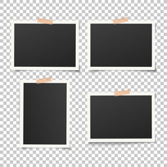 Wall Mural - Set of empty photo frames with adhesive tape. Vector vintage picture with adhesive tapes. Photo realistic vector EPS10 mockups. Retro photo frame templates. 4 photos on wall.