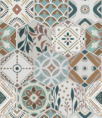 Foto auf AluDibond Boho-Stil Luxury oriental tile seamless pattern in style of colorful floral patchwork boho chic with mandala in hexagon design elements. Flower ornament background with eastrn motif