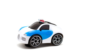 Keuken foto achterwand Cars police toy car isolated on white background