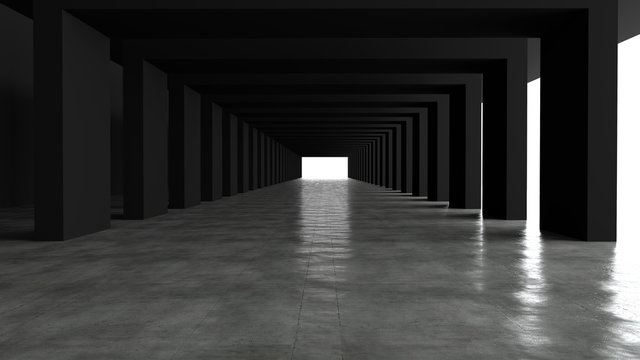 Empty space concrete room and the pathway area indefinitely with the gap and glowing light. And are moving forward, the rhythm of the square frame and the gap, On the floor of concrete, 3D rendering.