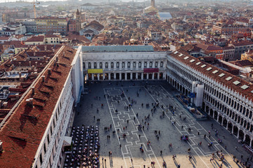Fototapete - Aerial sunset view of Venice, Piazza San Marco in Venice, Italy. Architecture and landmarks of Venice. Venice postcard