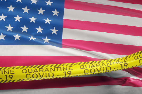 Flag of the US waving on wind.  Restrictive tape coronavirus Covid-19, SARS-CoV-19 quarantine. Realistic 3d rendering