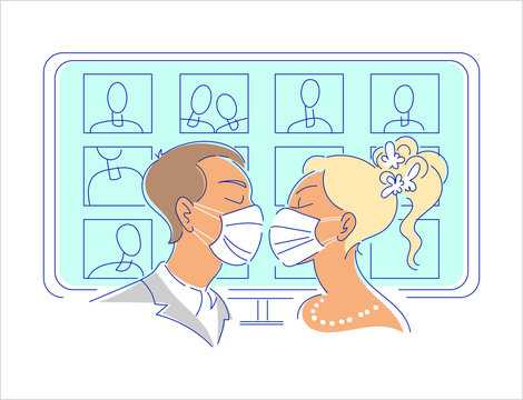 Wedding broadcast with online guests illustration. Kissing groom and bride in protective medical face masks, display with friends on the background. Self isolation, live stream marriage concept.