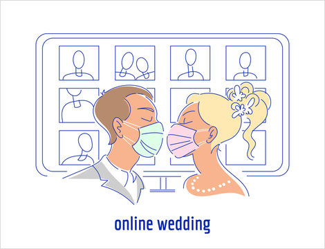 Corona virus pandemic wedding illustration. Kissing couple in protective medical face masks, display with online guests on the background. Self isolation, live stream marriage ceremony concept.