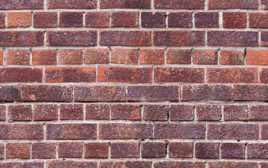 Fototapete - Old red brick wall, detailed seamless background