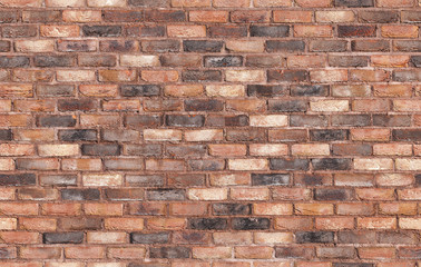 Fototapete - Grungy old red brick wall, seamless background