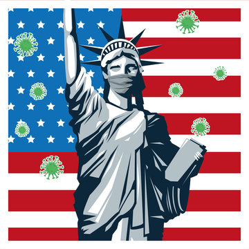 liberty statue with covid19 particles in flag