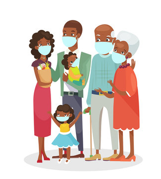 Vector illustration of cute African american family standing together in protection masks isolated on white background. Happy cartoon characters in flat style, stay home concept
