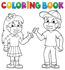 Photo sur Aluminium Enfants Coloring book kids in medical masks 1