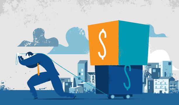 Uomo che fa fatica a portare scatole pesanti con il simbolo del dollaro. Concetto che dimostra il peso delle tasse, debiti finanziari. Uomo fatica di pagare gli interessi agli creditori.