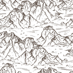 Mountains sketch Seamless pattern. Hand drawn Rocks. Mountain Landscape Background. Vector illustration