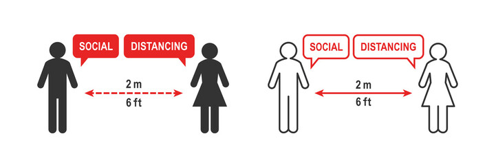 Social distancing sign. Two people keeping a 2 meter or 6 feet distance. Arrow symbol between the two stick figure and outline silhouette. Pictogram isolated on white background.