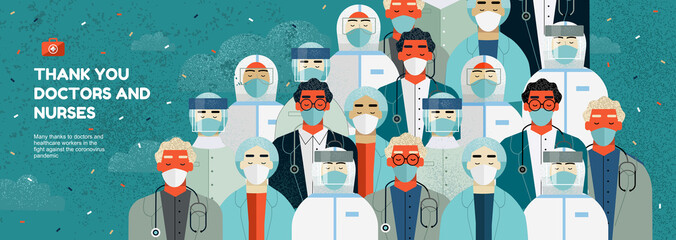 Thank you doctors and nurses for the fight against covid-19 coronavirus infection. Vector illustration of resuscitator, therapist, ambulance in mask. Drawing for banner or cover.