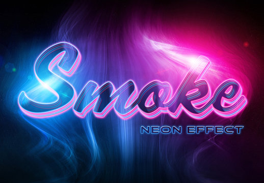 Neon Text Effect with Smokes Mockup