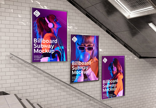Billboard on Underground Stairs Wall Mockup