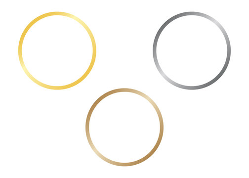 Circle lines of shiny frames with glowing gradient effects. Set gold, silver and bronze round frames. Vector illustration