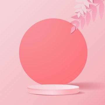minimal scene with geometrical forms. Cylinder podium in pink background with leaves and shadow. Scene to show cosmetic product, Showcase, shopfront, display case. 3d vector illustration.
