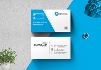 Blue and White Business Card Layout