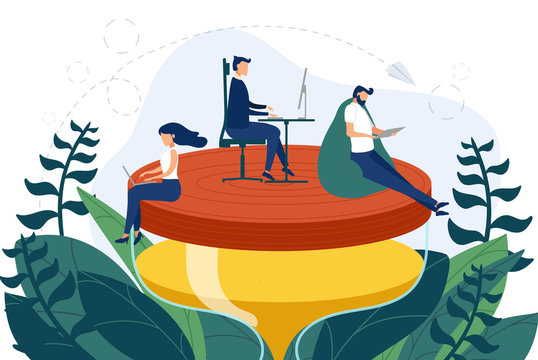Team of employees work on the hourglass relaxed and concentrated. Business concept of time management and workaholic meeting deadline. Vector illustration.