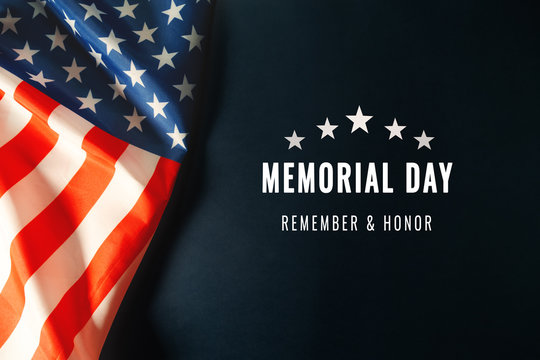 Memorial Day with American flag on blue background