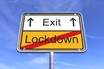 3d render of a traffic sign with the message lockdown and exit