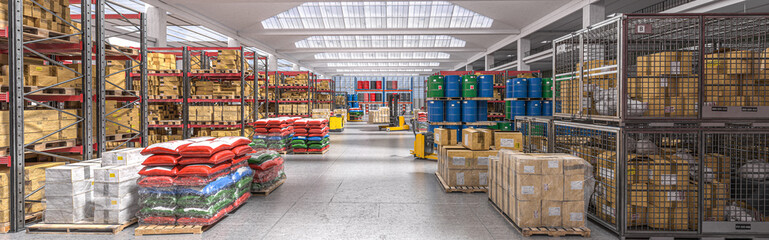 interior of a storage warehouse with goods of various kinds.