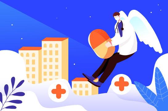 Angel with medicine doctors illustration