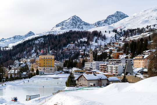 Townscape of the Tourist Destination St. Moritz (Switzerland) in the Swiss Alps