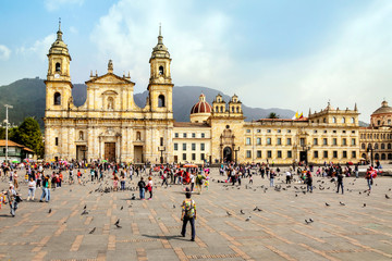 Facade of Bogota Cathedral on Bolivar Square in Colombia