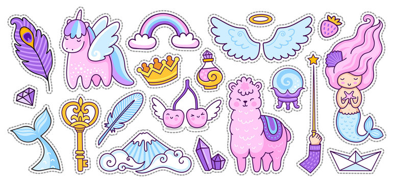 Unicorn, alpaca, mermaid and cherry, rainbow and wings. Big set of colorful stickers, badges, pins, patches. Doodle cartoon style. Vector illustration.