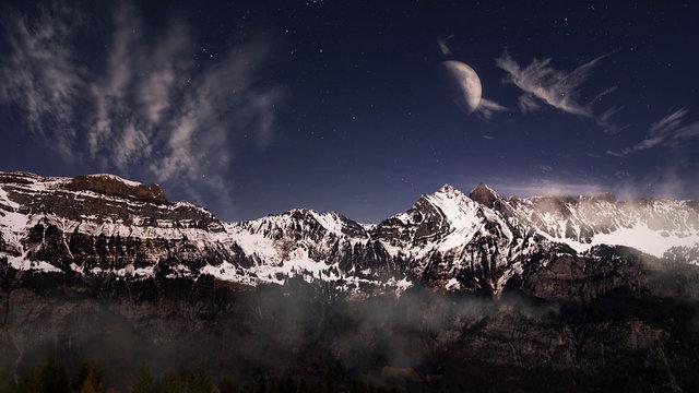 Scenic view of Churfirsten mountain range at night