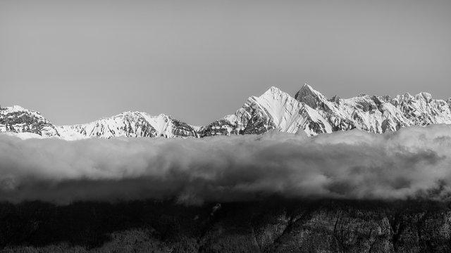 Scenic view of Churfirsten mountain range