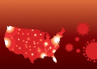 COVID-19 Coronavirus Map of United States Background Illustration