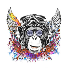 monkey in vintage pilot hat illustration