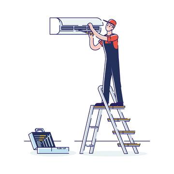 Concept Of Electric Appliances Service. Professional Worker Repairman In Uniform Fix Appliances. Man Repair Split Air Conditioner Standing on Ladder. Cartoon Linear Outline Flat Vector Illustration