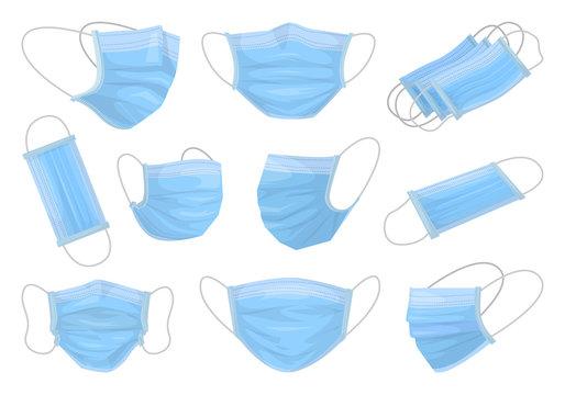 Medical mask isolated cartoon set icon. Vector cartoon set icon surgical protective layer. Vector illustration medical mask on white background.