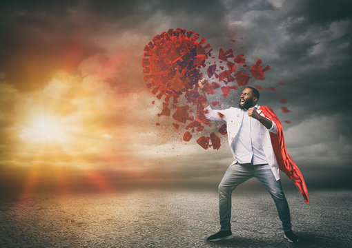 Super hero doctor with red cloak wins against viruses