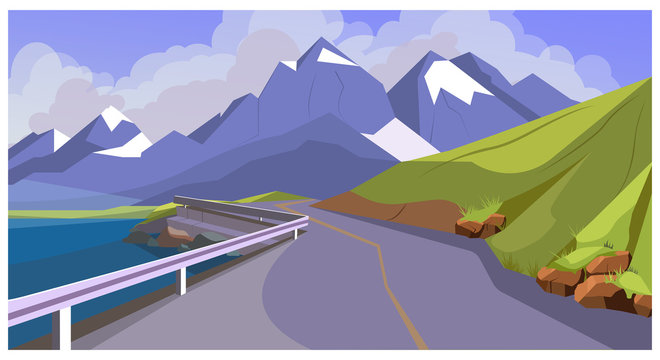 Mountain road with railing illustration. Hill range with winding road. Nature illustration