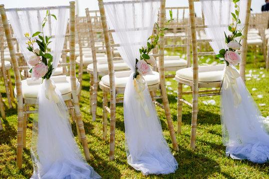 Amazing wedding decoration setting on sunny day.