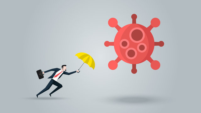 Businessman With Yellow Umbrella  Defense Coronavirus 2019 or Covid-19. Meaning is Protect His business, Company, Financial to Survive and Move on in the Virus Outbreak Crisis. Vector Ilustration.