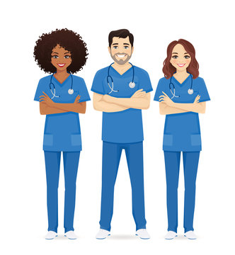 Nurse characters group. Medical team isolated vector illustartion