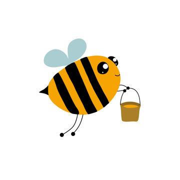 Сartoon happy bee. Vector drawn illustration on a white background. Hand drawn. Cartoon bee with a bucket of honey